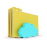 Ordner 3d mit Wolke auf weißem Hintergrund Stockfoto