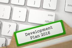 Ordner-Index mit Aufschrift-Entwicklungsplan 2016 3d Lizenzfreies Stockbild