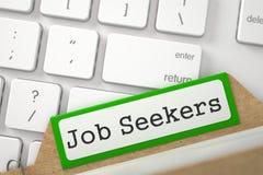 Ordner-Index mit Aufschrift Job Seekers 3d Lizenzfreie Stockfotografie