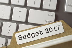 Ordner-Register mit Budget 2017 3d Stockfotografie