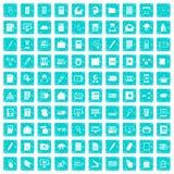 100 Ordnerikonen stellten Schmutz blau ein Lizenzfreie Stockfotos