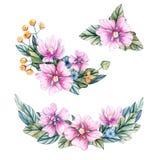 Ordning av rosa blommor med sidor Hand-dragen vattenfärg vektor illustrationer