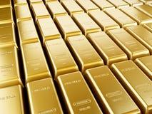 Ordning för guld- stänger Fotografering för Bildbyråer
