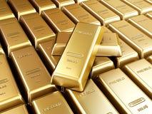 Ordning för guld- stänger Arkivbilder