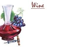 Ordning med gruppen av nya druvor, korkskruv, karaff och exponeringsglas av rött vin Arkivbild
