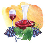 Ordning med gruppen av nya druvor, korkskruv, karaff och exponeringsglas av rött vin Arkivbilder