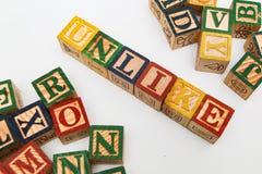 Ordningen av bokstäver bildar ett ord, version 18 Arkivfoto