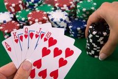 ordningen cards poker Fotografering för Bildbyråer