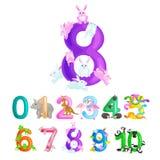 Ordningstal för undervisande barn som räknar med kapaciteten att beräkna belopp dagis för djurabc-alfabet Arkivfoton