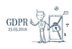 Ordningsvakt för server för reglering GDPR för skydd för allmänna data för konstgjord intelligens för robothållhänglås säker över vektor illustrationer