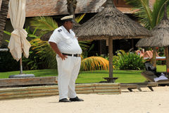 Ordningsvakt på stranden, Mauritius Arkivbilder