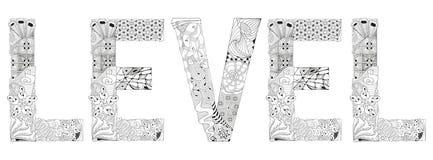 OrdNIVÅ för att färga Dekorativt zentangleobjekt för vektor vektor illustrationer