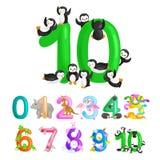 Ordnungsnr. 10 für die unterrichtenden Kinder, die zehn Pinguine mit der Fähigkeit, Mengentier-ABC-Alphabet zu berechnen zählen Stockfoto