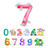 Ordnungszahlen für die unterrichtenden Kinder, die mit der Fähigkeit, Mengentier-ABC-Alphabetkindergarten zu berechnen zählen Stockbilder