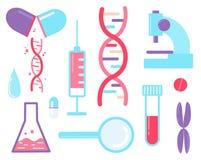 Ordonnancement de génome - ensemble d'examen médical d'éléments ADN, seringue, illustration stock
