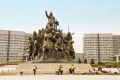 Monument to the army of Genghis Khan in Ordos, Inner Mongolia. Ordos, China- April 29, 2018: monument to the army of Genghis Khan on the square of Genghis Khan royalty free stock photography