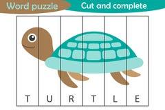 Ordpussel, sköldpadda i tecknad filmstil, utbildningslek för utveckling av förskole- barn, brukssax, klippta delar av bilden vektor illustrationer