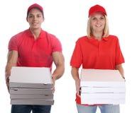 Ordre d'homme de femme de la livraison de pizza livrant des jeunes du travail d'isolement Photographie stock