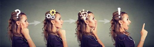 Ordre d'une femme réfléchie, pensant, trouvant la solution avec le mécanisme de vitesse, question, exclamation, symboles d'ampoul Images libres de droits