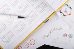 Ordre du jour personnel et diagrammes graphiques Images stock