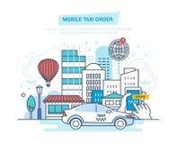 Ordre mobile de taxi Appel par le téléphone, application mobile Ordre en ligne Images libres de droits