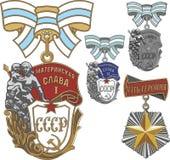 Ordres soviétiques de héroïne maternelle de gloire et de mère illustration stock