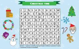 Ordsökandepussel för barn, bildande lek Tema för julvinterferier Arkivbild