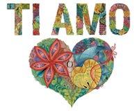 OrdSI AMO med hjärta Jag älskar dig i italienare Dekorativt zentangleobjekt för vektor stock illustrationer