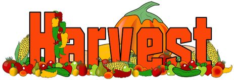 Ordskörden med illustrationer av frukt och grönsaker Arkivbild