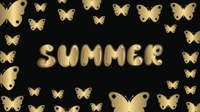 Ordsommar och guldfjärilar stock video