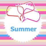 Ordsommar och talande bubbla, kritateckningar, sommarferie stock illustrationer