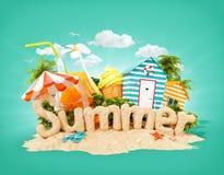 Ordsommaren som göras av sand på den tropiska ön Ovanlig illustration 3d av sommarsemestern stock illustrationer