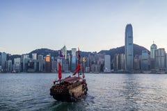 Ordure de touristes chez Victoria Harbour en Hong Kong Photo libre de droits