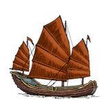 Ordure flottant sur les vagues de mer Bateau de navigation tiré par la main d'élément de conception Illustration de gravure de ve illustration libre de droits