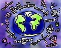 Ordures d'espace de la terre dessinant l'illustration Photographie stock libre de droits
