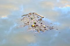 Ordures flottant sur l'eau images stock