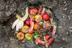 Ordures ménagères pour le compost des fruits et légumes photo libre de droits