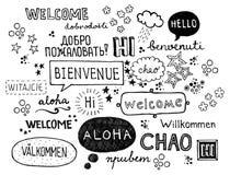 Ordvälkomnande som skrivs i olika språk royaltyfri illustrationer