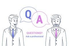 Ordynacyjny biznes radzi Biznesmen i konsultant z mowa bąblami i listami q i a royalty ilustracja