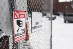 24 ore al giorno area di videosorveglianza dal cantiere Immagini Stock Libere da Diritti