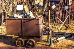 Ore Bucket Used In Mining Operations. Vintage Rusty Ore Bucket Used In Mining Operations In Salvage Yard Stock Image