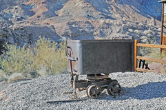 Ore Cart. This is an ore cart likely pulled by a small steam locomotive or a team of mules to haul ore out of a mine. It was likely used at the Maggie Mine, the stock image