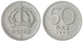 50 ore 1944 coin isolated on white background, Sweden Stock Images