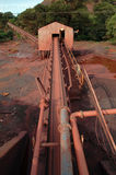 Ore conveyerbelt. At iron mine royalty free stock image