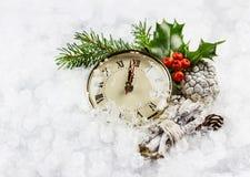 Ore del nuovo anno nella neve Fotografia Stock