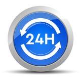 24 ore dell'aggiornamento dell'icona di illustrazione rotonda blu del bottone illustrazione di stock