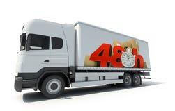 48 ore di consegna, camion Fotografia Stock