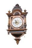 Ore di legno della parete antica, orologio immagini stock
