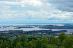 Ore Docks and Harbor in Duluth. Aerial of ore docks and Saint Louis Bay in Duluth Minnesota Royalty Free Stock Image