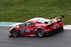 12 ore Hankook Mugello 18 March 2017: #11 Scuderia Praha, Ferrari 488 GT3: Jiri Pisarik, Josef Král, Matteo Malucelli on Mugell. 12 ore Hankook Royalty Free Stock Photos
